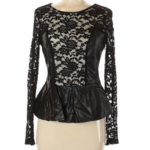 Esley Peplum Faux Leather & Lace Top